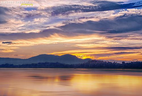 longexposure blue sunset india yellow clouds river fire dusk guwahati brahmaputra northeastindia