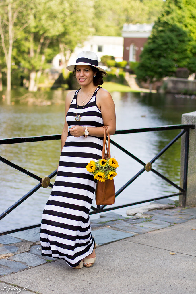 striped maxi dress and sunflowers.jpg