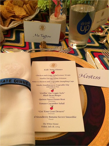 Place setting at the Kids' State Dinner. The menu featured some of the winning recipes.