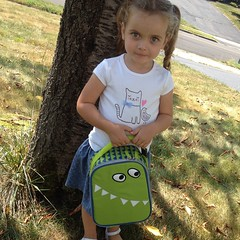 First day of pre-k. She picked out her #monster lunchbox