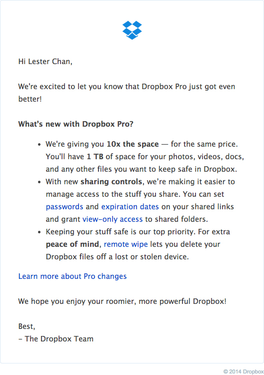 Dropbox - 1TB Email Notification