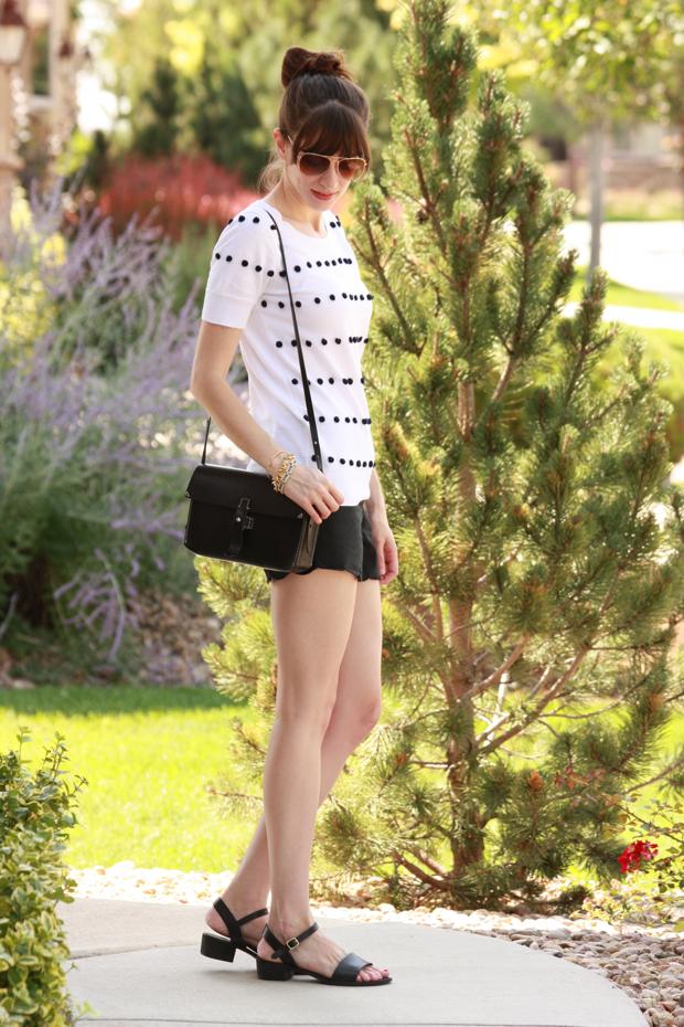 Scallop Shorts, Pom Pom Sweater