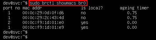 linux bridge mac address table