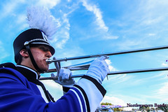 Towering Trombone ::     The Northwestern University 'Wildcat' Marching Band performs at Ryan Field as Wildcat Football hosts California on August 30, 2014.  Photo by Daniel M. Reck '08 MSEd.