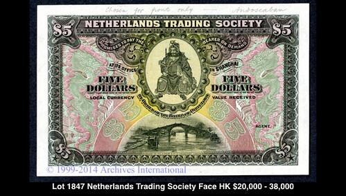 Lot 1847 Netherlands Trading Society $5