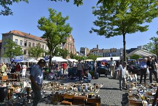 Image of Flea Market. brussels summer people square display bluesky fleamarket marolles
