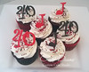 40th red and black cupcakes