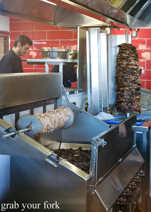 Gyros spits at Kefi Souvlaki Bar, Kingsgrove