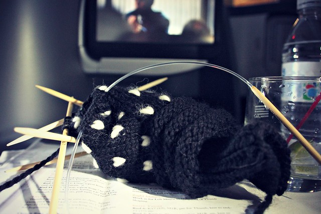 Knitting in an airplane