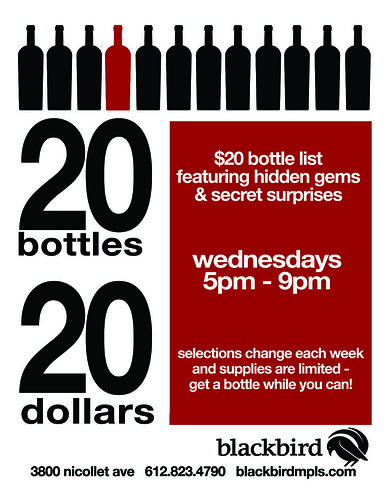 $20 bottle list ~ wednesdays