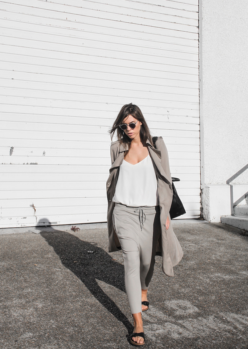 modern legacy fashion blog Australia fall Zara silky trench coat street style neutrals Bassike Birkenstock Madrid Alexander Wang bag (1 of 14)