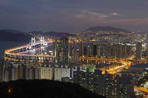 city bridge sunset lights south korea busan pusan 부산 centum gwangan
