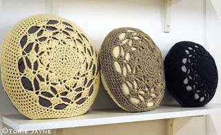 Rose Sharp Jones crochet cushions