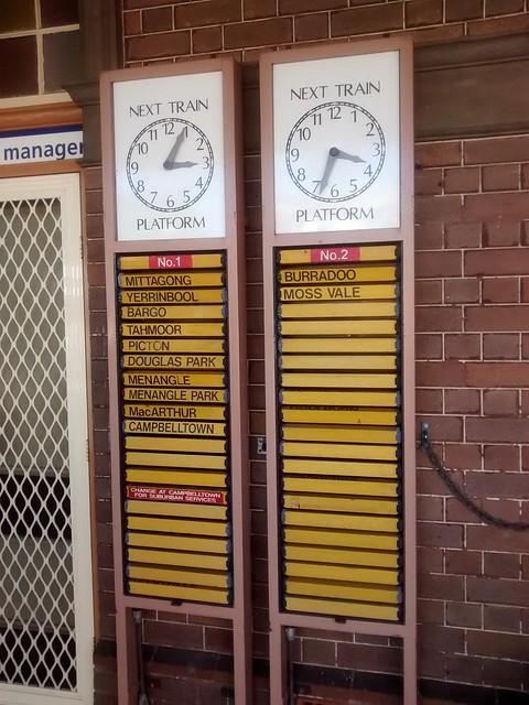 train board bowral clock