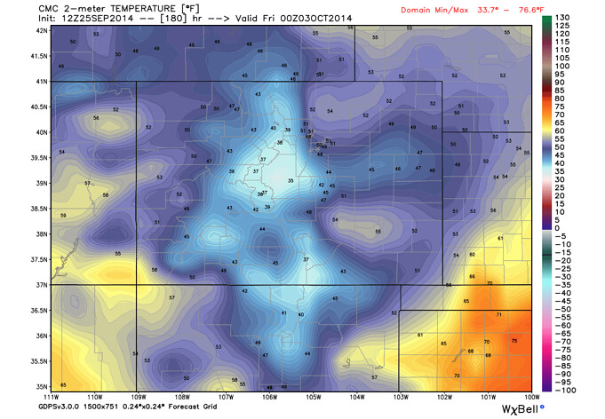 CMC temperature forecast Colorado