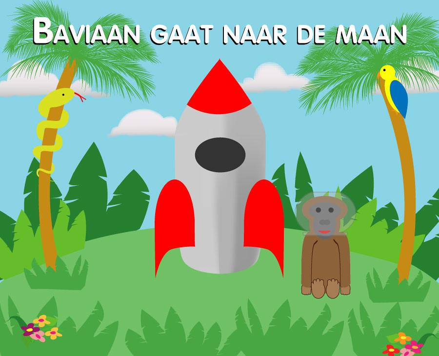 Book cover Baviaan gaat naar de maan