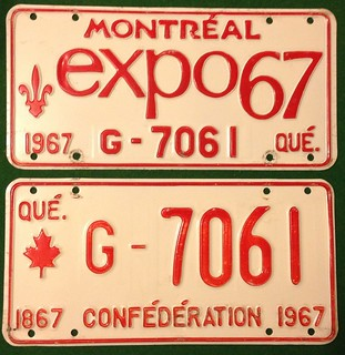 Quebec 1967 government license plate pair. Notice the difference of both front and back plates. The EXPO67 plate was displayed on the front.
