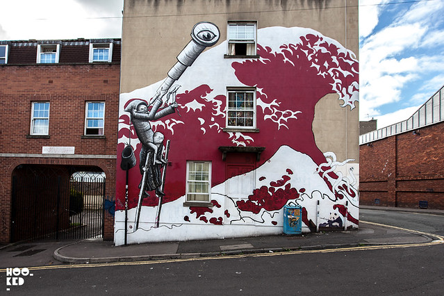 Bristol Street Art Mural by Sheffield based street artist Phlegm