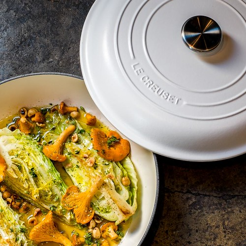 Le Creuset ollie dabbous hispi cabbage & girolles