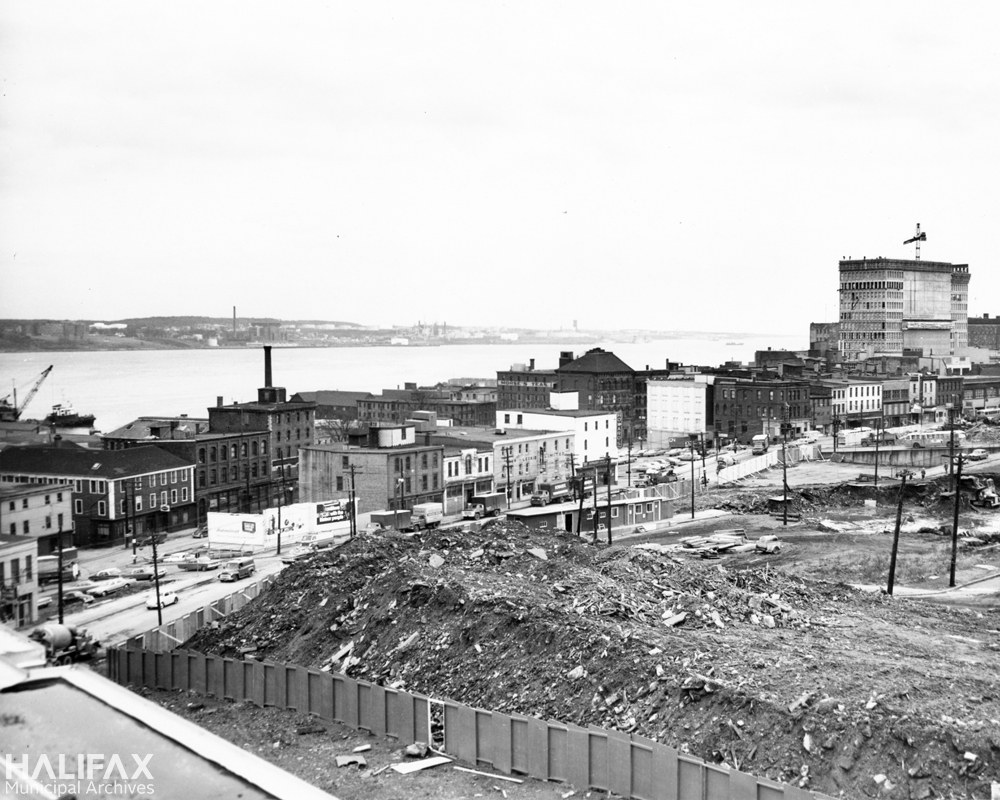 Scotia Square construction, looking east-south-east from Trade Mart roof