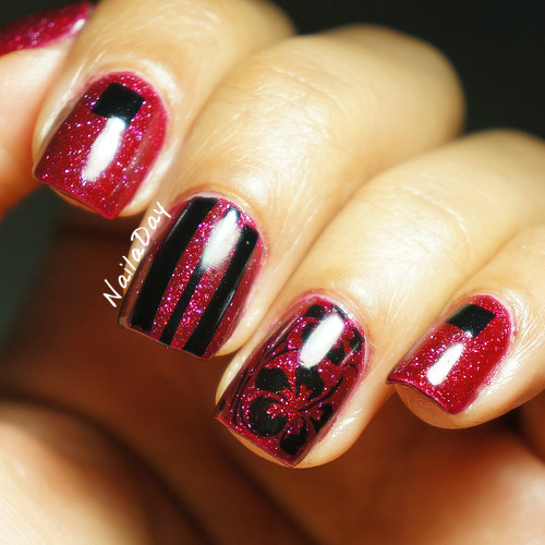NailaDay: Zoya Blaze with flowers and stripes