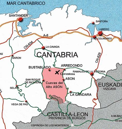 Mapa de cueva Coventosa en el Alto Asón (Cantabria)