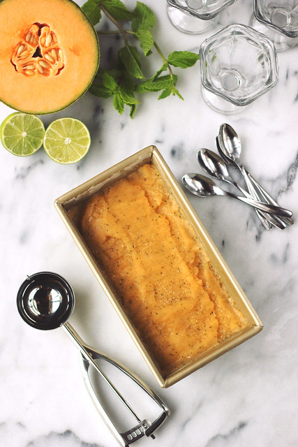 Cantaloupe Mint Sorbet (Gluten-free and Vegan)