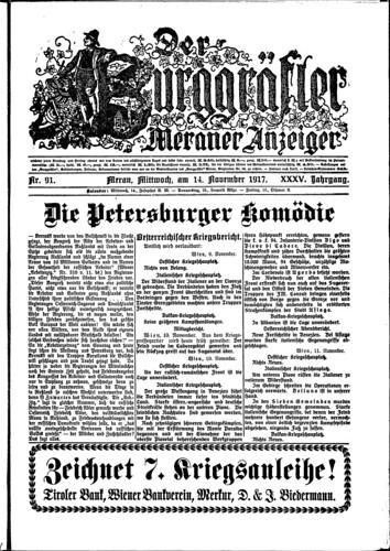 Der Burggräfler, 14 November 1917 (Friedrich Tessmann Library)