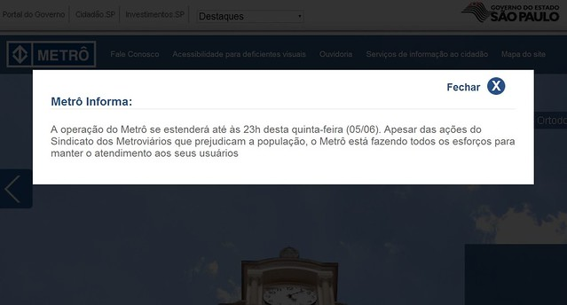 Pop-up sobre a greve no site oficial do metrô