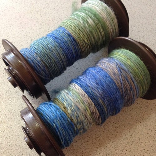 Finished some Falkland singles this morning. I was trying to spin a little thicker with this, not easy. G has claimed the finished yarn for a hat for himself. Thanks so much, @mamaholmesnc!! #stashdash2014