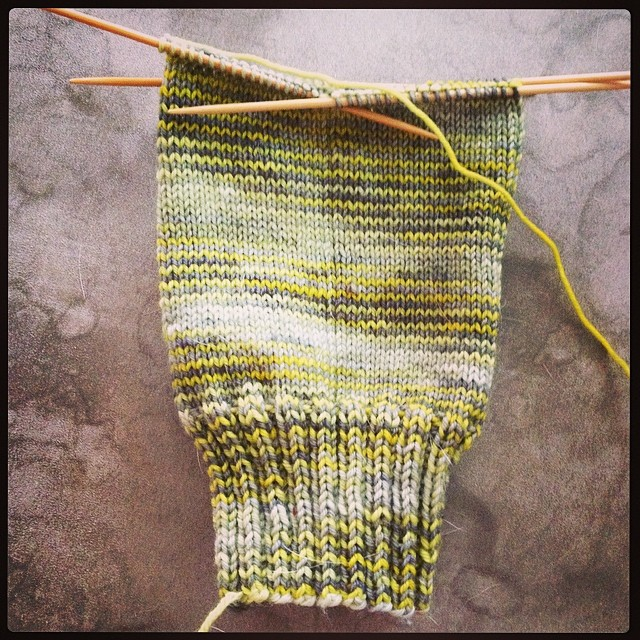 Plain old sock in nice yarn = happy times. #destinationyarn #operationsockdrawer #summerofsocks #sos2014