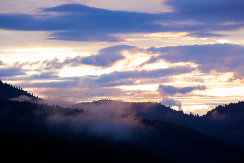 sunset in Carpathian mountains. Bukovel, Ukraine