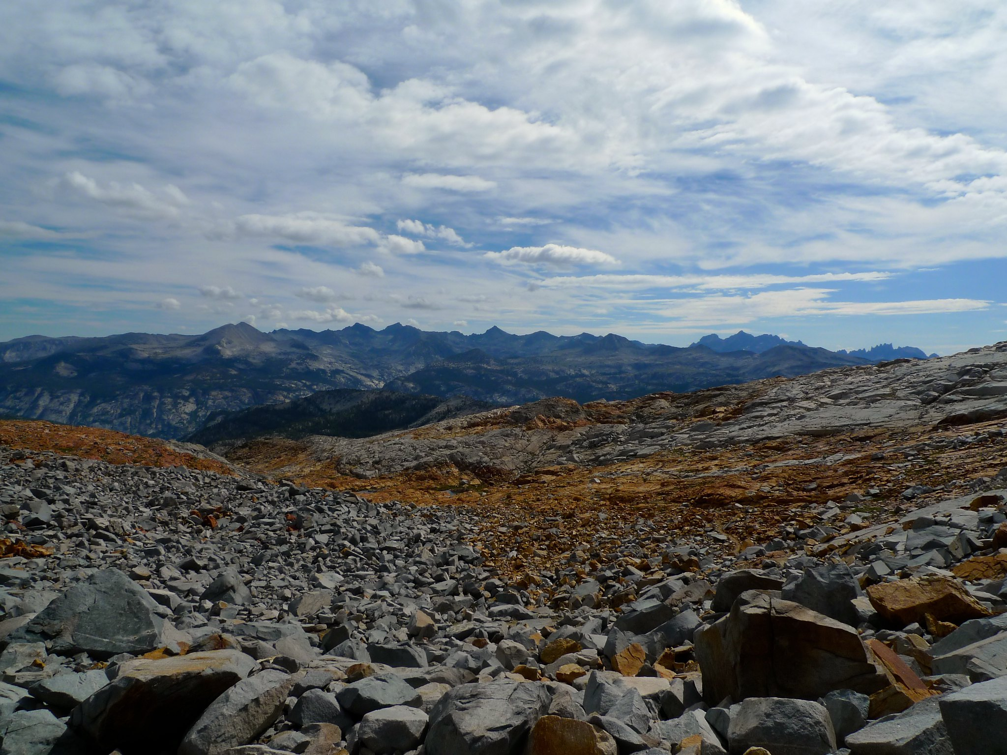 Looking west from the barren talus moonscape on the north side of Red Peak Pass