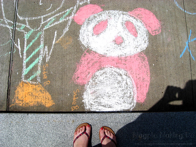 panda chalk drawing
