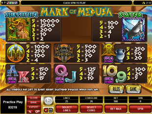 Mark of Medusa Slots Payout