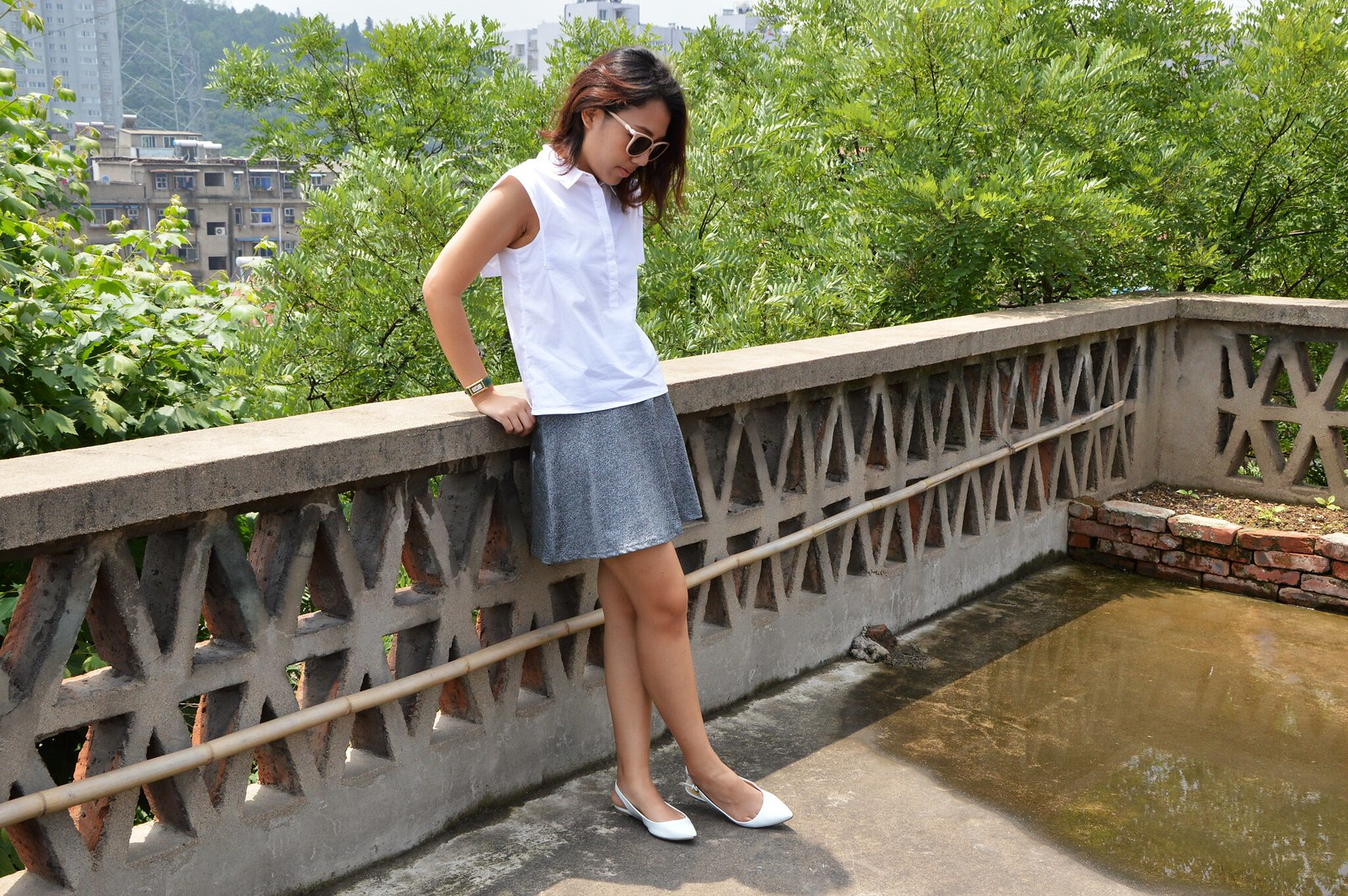 Mango white blouse, gray skater skirt, white pointed toe flats