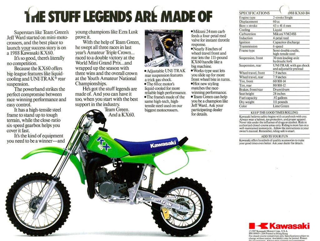 1988 Kawasaki KX60 Brochure Page 2