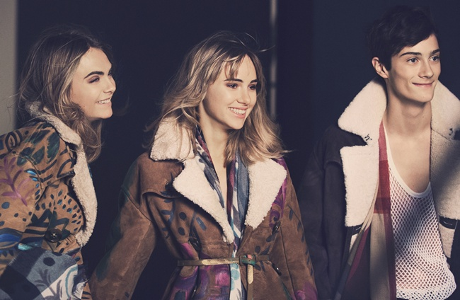 5 Cara Delevingne, Suki Waterhouse and Oli Green behind the scenes on the Burberry Autumn_Winter 2014 campaign