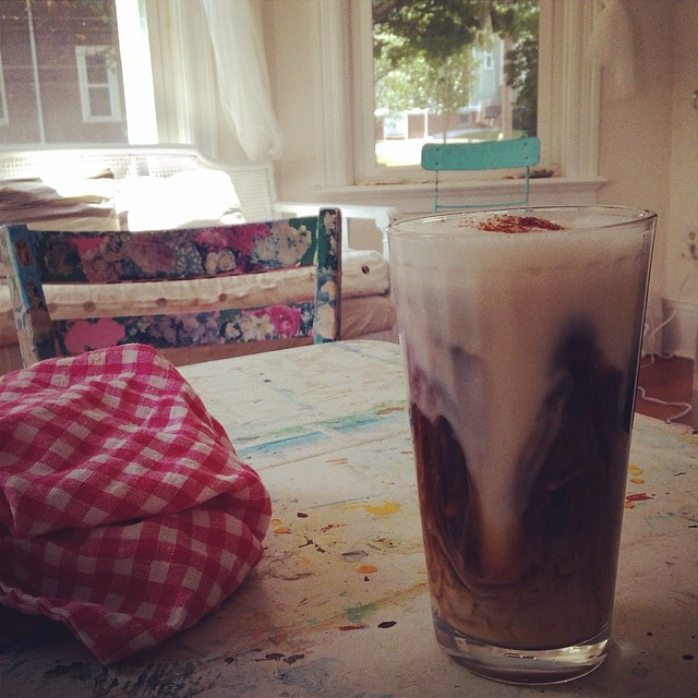 It's that time of day. (Iced coffee with almond milk)
