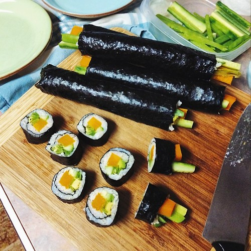 Teaching the sister-in-law how to make sushi - because it is so insanely easy. Brown rice, avocado, cucumber, snap peas, pumpkin.   #vsco #vscocam #vscofood #sushi #jjupandaway #family #whatsfordinner [ #eatfoodphotos Aug 14 | #organised ] #mealforameal