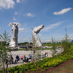 Blue Sky and Coffee at The Kelpies