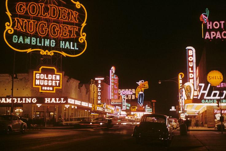 Neon signs in Las Vegas, 1970s. Source: Wikimedia