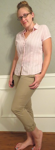 Pink Blouse & Khaki Skinnies - After