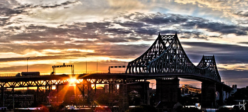 city bridge summer sky panorama metal clouds photoshop sunrise traffic montreal sunny fujifilm hdr 2014 jacquescartierbridge brunolaliberté