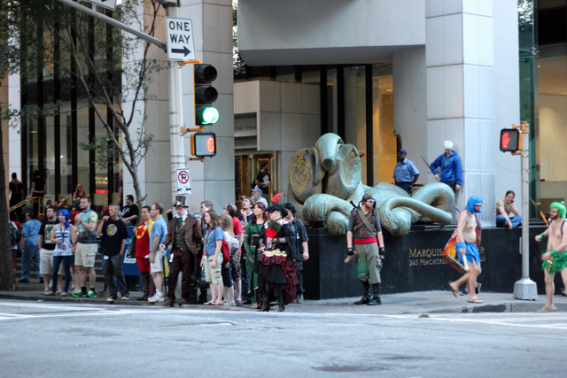 Crowded Sidewalks at Dragon Con 2014