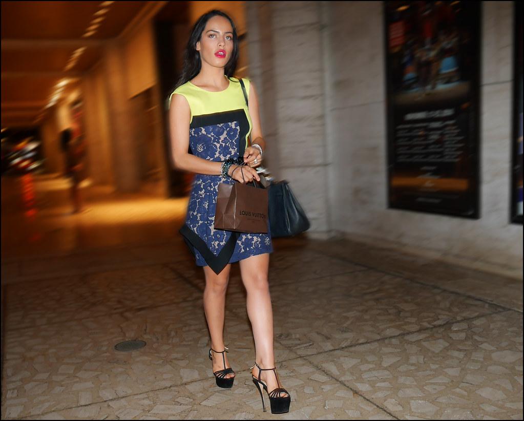 FW9-14  9w Blue black yellow short dress heeled platform sandals small louis vuitton shopping bag