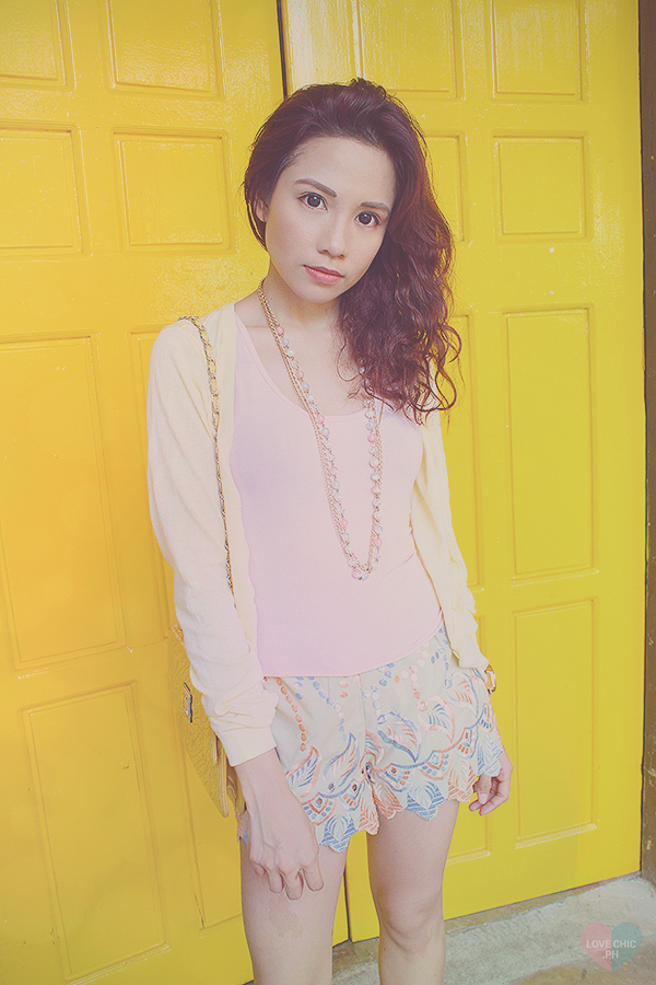 lovechic love chic shai lagarde shailagarde tumblr top fashion blogger philippines street style outfit ootd casual yellow ninoy aquino filipino pastel teenvogue teen vogue shorts cardigan watch heels asian lookbook chictopia summer wavy red hair UP 2