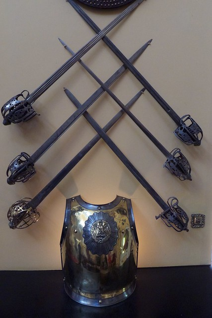 chest plate and swords, Armoury Hall, Inverary Castle