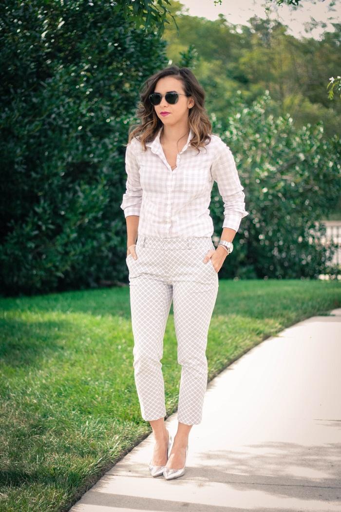 work wear. silver metallic heels. printed grey pants. jcrew button down. fall work wear. va darling. andréa viza dc blog. dc blogger. dc fashion. 7