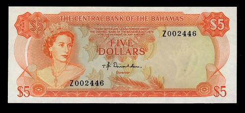 Bahamas $5 replacement note